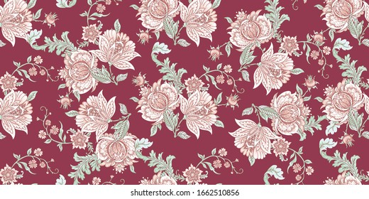 Vintage seamless texture with folk tropical flowers