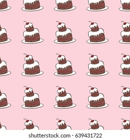 Vintage seamless vector pattern of cakes on pink background. Sweet chocolate cake with cream and cherry. Design concept for fabric, textile printing, wrapping paper or web