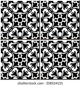 Vintage seamless wall tiles of black white geometry flower. Moroccan, Portuguese. Vintage tile patterns can be used for wallpaper, pattern fills, web page background, surface textures.