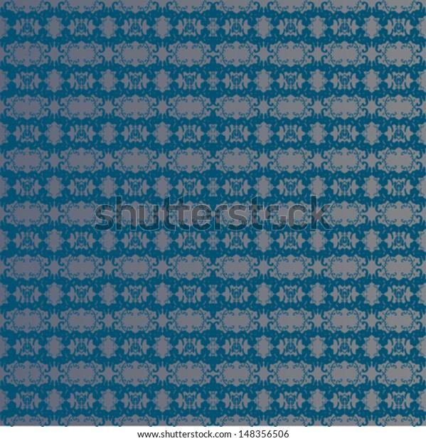 Vintage Seamless Wallpaper Dark Blue Color Stock Vector Royalty
