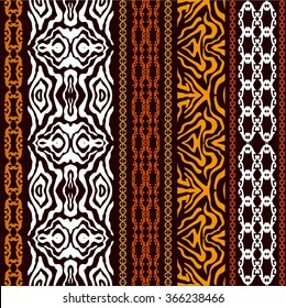 Vintage seamless wallpaper with ethnic motifs and tiger print. Abstract geometrical vector pattern. Art Deco style. Safari collection.