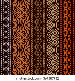 Vintage seamless wallpaper with fantasy ethnic motifs and animal print. Abstract geometrical vector pattern. Art Deco style. Safari collection.