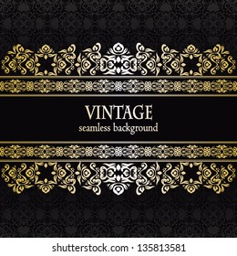 Vintage seamless wallpaper with a ribbon. Can be used as invitation
