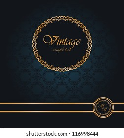 Vintage seamless wallpaper with a ribbon and frame. Can be used as card or invitation