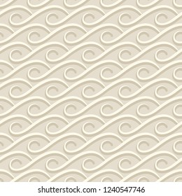 Vintage seamless wave pattern, abstract vector wavy ornament in beige color