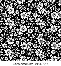 Vintage seamless white floral pattern on a black background. Vector illustration.