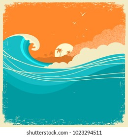 Vintage Seascape with island on old paper poster for text. Ocean waves and sky