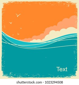 Vintage Seascape on old paper background for text. Ocean waves and sky