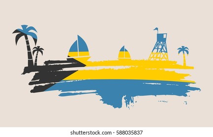 Vintage seaside view poster. Vector background. Palm and safeguard tower on the beach. Yacht in the ocean. Silhouettes on grunge brush stroke. Flag of Bahamas