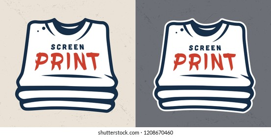 Vintage serigraphy colorful concept with letterings on shirts on dark and light gray backgrounds isolated vector illustration