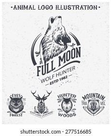 Vintage set animal labels & badges. Retro vector design graphic element, emblem, logo, insignia, sign, identity, logotype, poster.