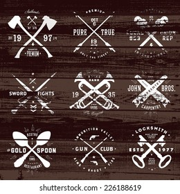 Vintage set of badges on distressed wood background. Easy to edit, all pieces are separated.