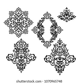 Vintage Set  baroque frame scroll ornament engraving border floral retro pattern antique style acanthus foliage swirl decorative design element filigree calligraphy wedding - vector on a white backgro