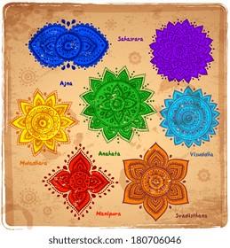 Vintage Set of beautiful ornamental 7 chakras