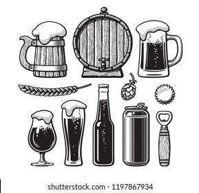 Vintage set of beer objects. Old wooden mug, barrel, glasses, hop, bottle, can, opener, cap. Hand drawn engraving style vector illustration. Brewery, beer festival, bar, pub design isolated elements.