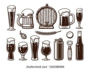 Vintage set of beer objects. Old wooden mug, barrel, glasses, hop, bottle, can, opener, cap. Hand drawn engraving style vector illustration. Brewery, beer festival, bar, pub design isolated elements.