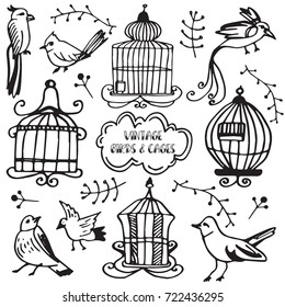 Vintage set of birds and cages. Hand drawn vector decoration collection, design doodle elements.