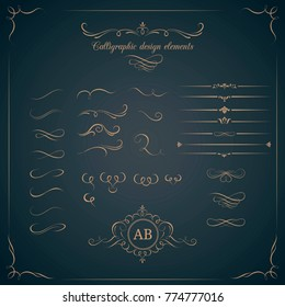 Vintage set of calligraphic design elements. Decorative elements, monogram, frame. Can be used for wedding invitation design