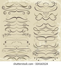 Vintage Set of calligraphic elements for design. Decorative Swirls, Scrolls, Dividers. Vintage Vector Illustration in brown tones