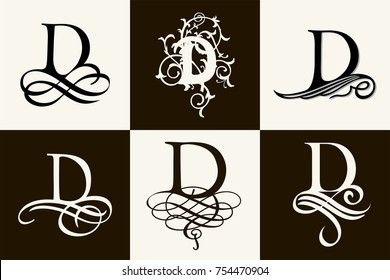 Vintage Set . Capital Letter D for Monograms and Logos. Beautiful Filigree Font. Victorian Style.