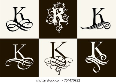 Vintage Set . Capital Letter A for Monograms and Logos. Beautiful Filigree Font. Victorian Style