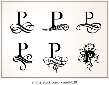 Vintage Set . Capital Letter P for Monograms and Logos. Beautiful Filigree Font. Victorian Style