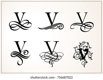 Vintage Set . Capital Letter V for Monograms and Logos. Beautiful Filigree Font. Victorian Style.