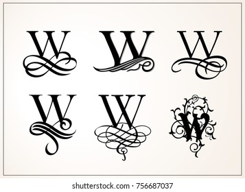 Vintage Set . Capital Letter W for Monograms and Logos. Beautiful Filigree Font. Victorian Style.