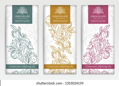 Vintage set of chocolate bar packaging design. Vector luxury template with ornament elements. Can be used for background and wallpaper. Great for food and drink package types.