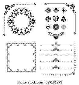 vintage set of classic elements different vector elements for decoration and design frames cards