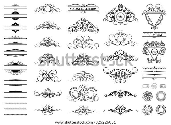 Vintage Set Decor Elements Decoration Logo Stock ...