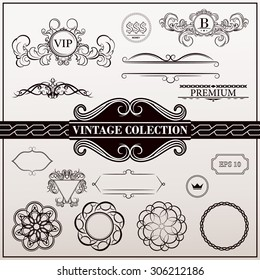 Vintage set decor elements. Elegance old hand drawing set. Outline ornate swirl leaves, acanthus, label, decor elements in vector. Big collection  borders for book, photo album or restaurant menu.