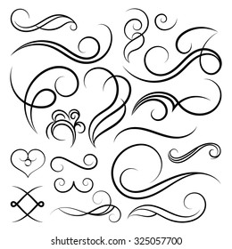 Vintage set decor elements. Elegance old hand drawing set. Ornate swirl leaves, label, curved lines and decor elements in vector. Decoration for logo, wedding album or restaurant menu.