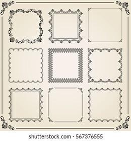 Vintage set of elements. Different vector square elements for decoration and design frames, cards, menus, backgrounds and monograms. Classic patterns. Set of vintage patterns.