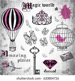 Vintage set of elements painted with hands and key, a balloon, a bird, a crown, a butterfly, a letter, a crown, a diamond, a rose.for web, stickers, print for T-shirt, textiles, and any design