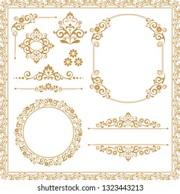 Vintage Set. Floral elements for design monograms, invitations, frames, menus and labels. Graphic design of the website, cafes, boutiques, hotels, wedding invitations.
