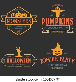Vintage set of happy halloween vintage badges, emblems and labels. Halloween party templates with pumpkin, zombie, scarecrow. Vector illustration.