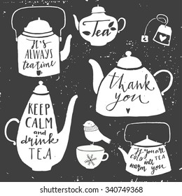 Vintage set of kettle for tea. Hand drawn typography elements.  Moody sky abstract background.