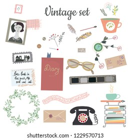 Vintage set with many objects for writer and post blog. Vector graphic illustration