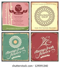 Vintage set of metal tin signs for flower shop. Floral poster designs with grunge texture and old fashioned style.