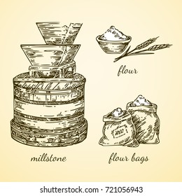 Vintage set. Millstone, flour end flour bags. Vector illustration.