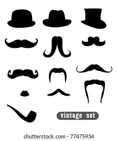 vintage set, with mustaches, hats and one pipe