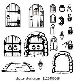 Vintage set of old doors, windows and a bridge. Vector illustration.