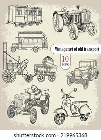 vintage set. old transport