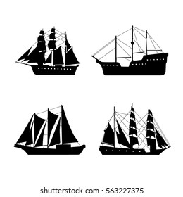 Vintage set with ships. Vector illustration.