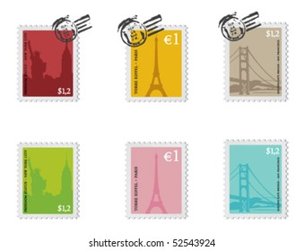 Vintage set of stamps from New York City, Paris and San Francisco.