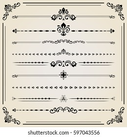 Vintage set of vector black decorative elements. Horizontal separators in the frame. Collection of different ornaments. Classic pattern. Set of vintage patterns