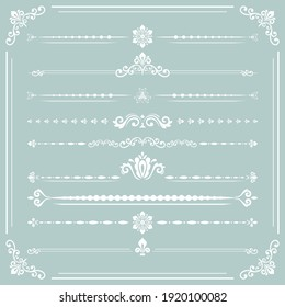 Vintage set of vector decorative elements. Horizontal separators in the frame. Collection of light blue and white ornaments. Classic patterns. Set of vintage patterns