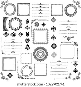 Vintage set of vector horizontal, square and round elements. Different elements for design, frames, cards, menus, backgrounds and monograms. Classic black patterns. Set of vintage patterns