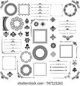Vintage set of vector horizontal, square and round elements. Different elements for decoration design, frames, cards, menus, backgrounds and monograms. Classic black patterns. Set of vintage patterns
